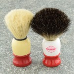 Our Brush Next to my Grandpa's Burma Shave Brush that is older than I am